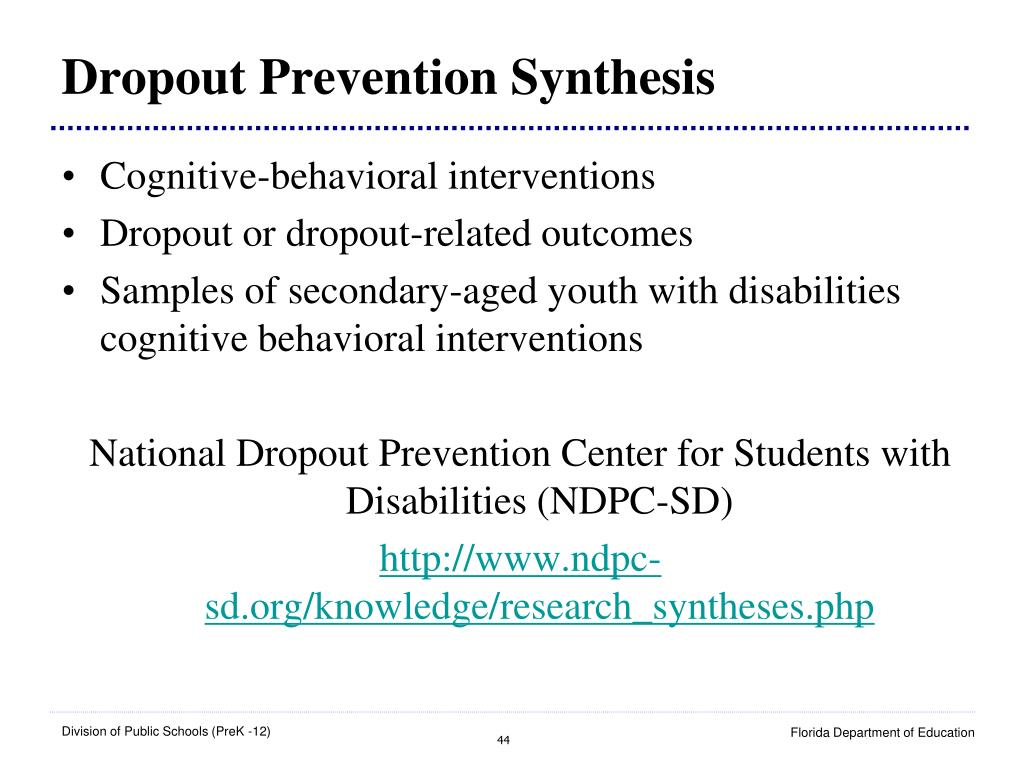 Dropout Prevention Synthesis