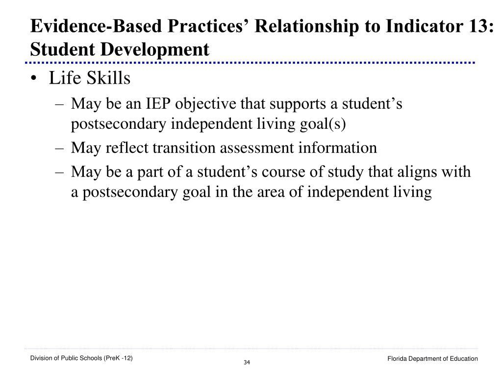 Evidence-Based Practices' Relationship to Indicator 13: Student Development
