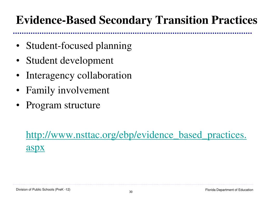 Evidence-Based Secondary Transition Practices