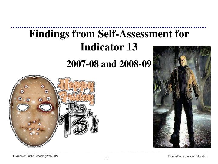 Findings from self assessment for indicator 13