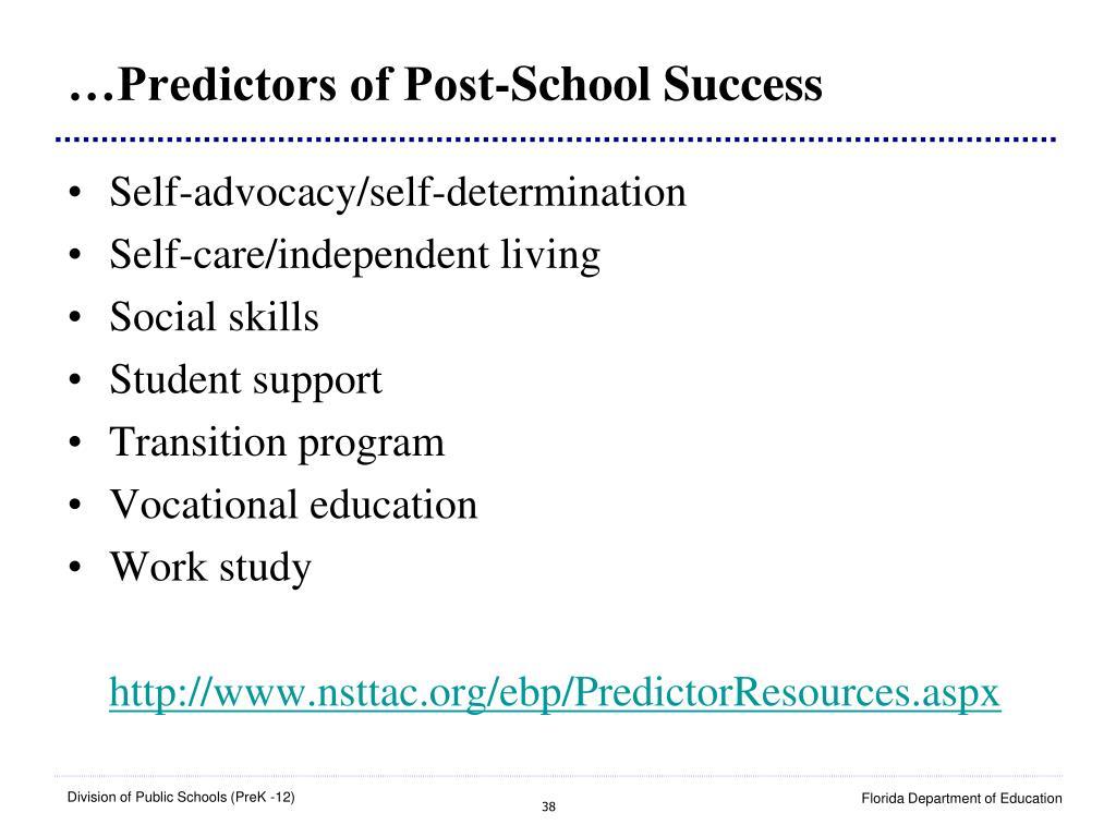 …Predictors of Post-School Success