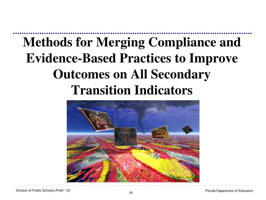 Methods for Merging Compliance and Evidence-Based Practices to Improve Outcomes on All Secondary Transition Indicators