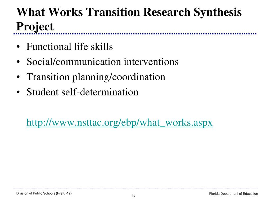 What Works Transition Research Synthesis Project