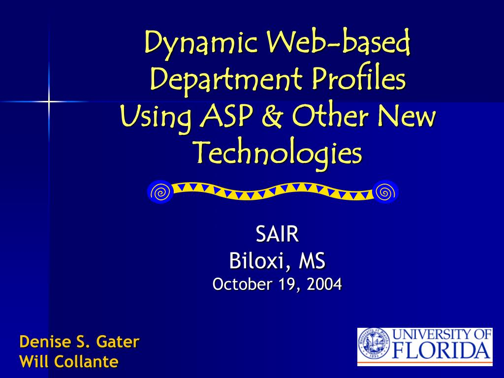 dynamic web based department profiles using asp other new technologies l.
