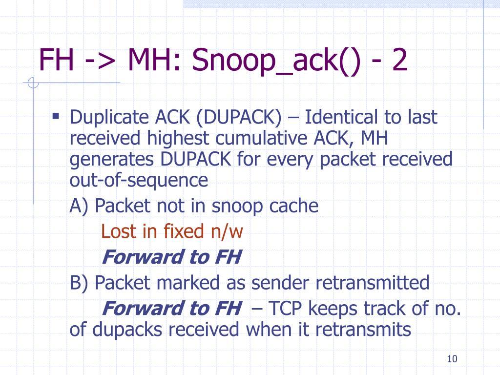 FH -> MH: Snoop_ack() - 2