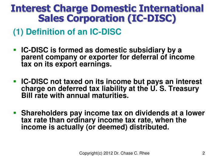 Interest charge domestic international sales corporation ic disc