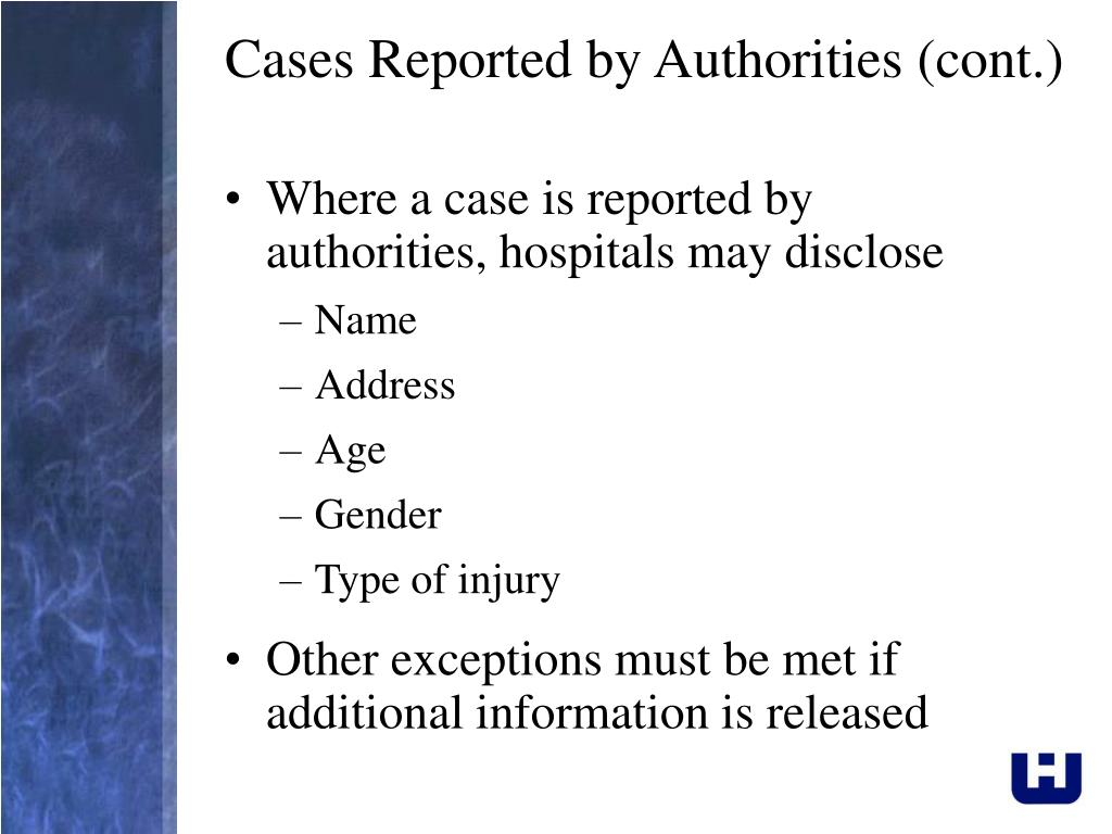 Cases Reported by Authorities (cont.)