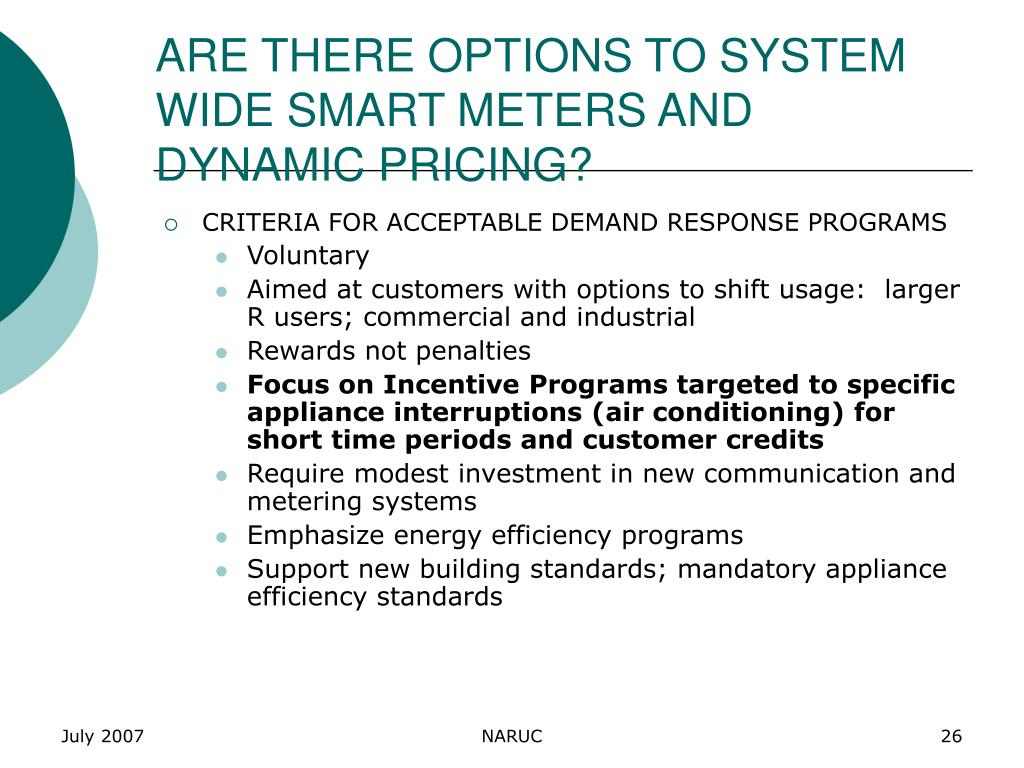 ARE THERE OPTIONS TO SYSTEM WIDE SMART METERS AND DYNAMIC PRICING?
