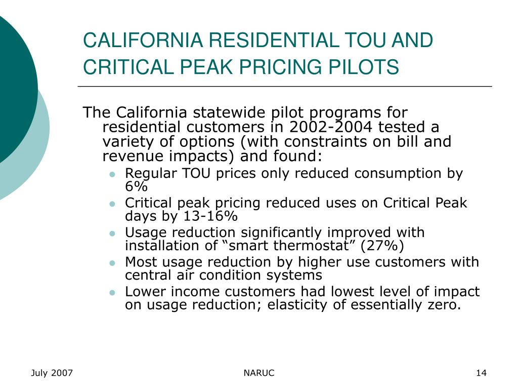 CALIFORNIA RESIDENTIAL TOU AND CRITICAL PEAK PRICING PILOTS