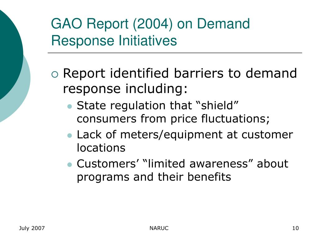 GAO Report (2004) on Demand Response Initiatives