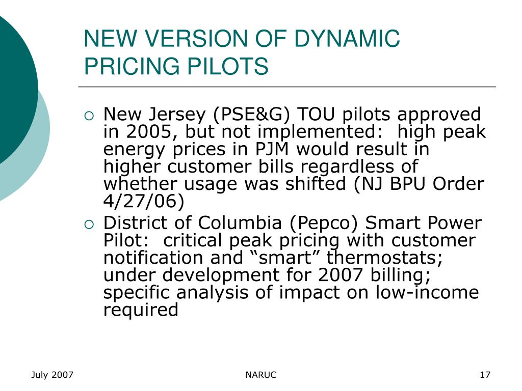 NEW VERSION OF DYNAMIC PRICING PILOTS