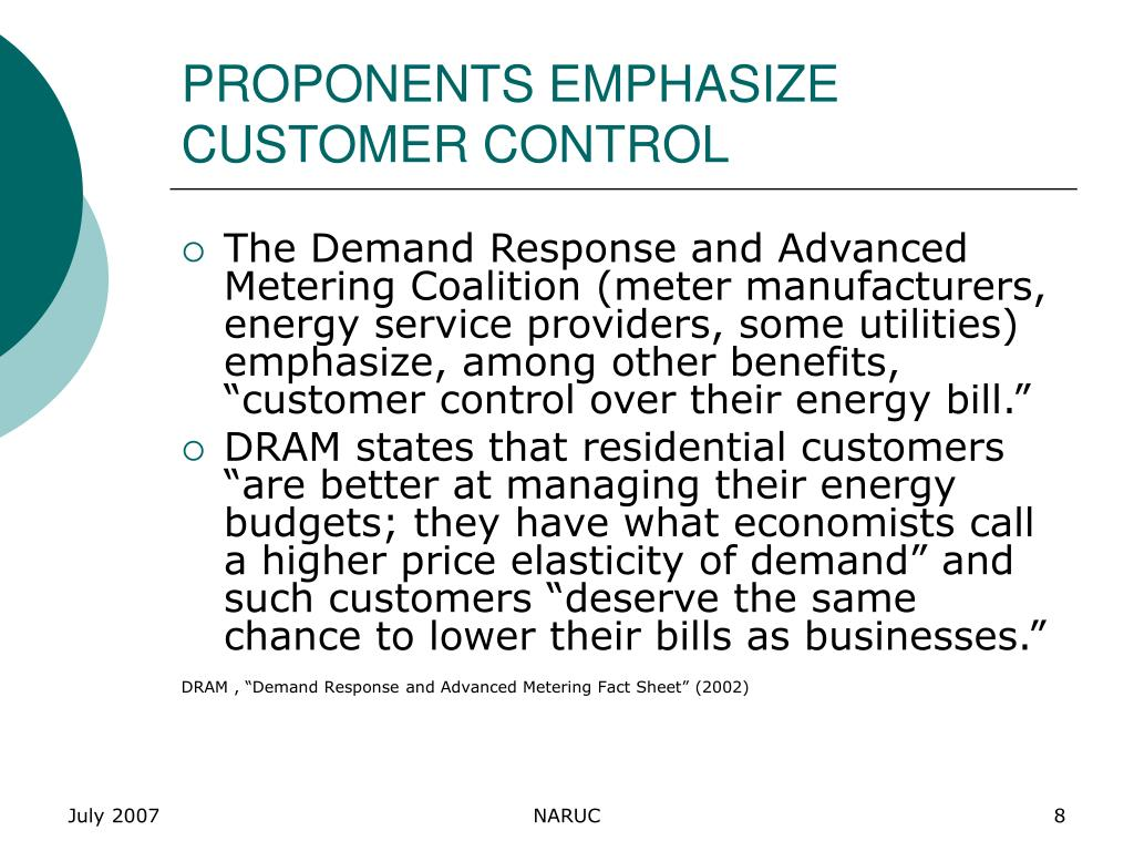 PROPONENTS EMPHASIZE CUSTOMER CONTROL