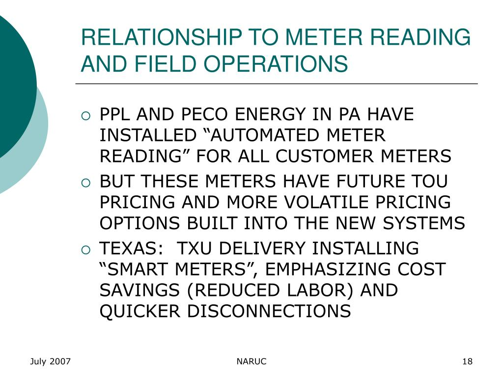 RELATIONSHIP TO METER READING AND FIELD OPERATIONS