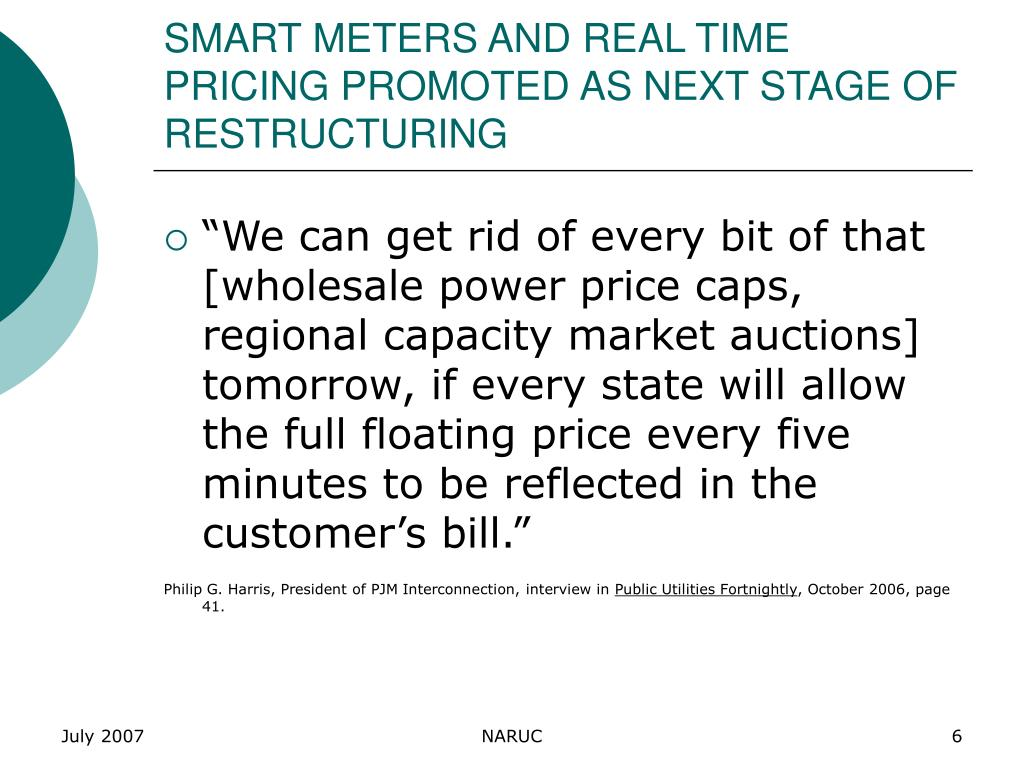 SMART METERS AND REAL TIME PRICING PROMOTED AS NEXT STAGE OF RESTRUCTURING