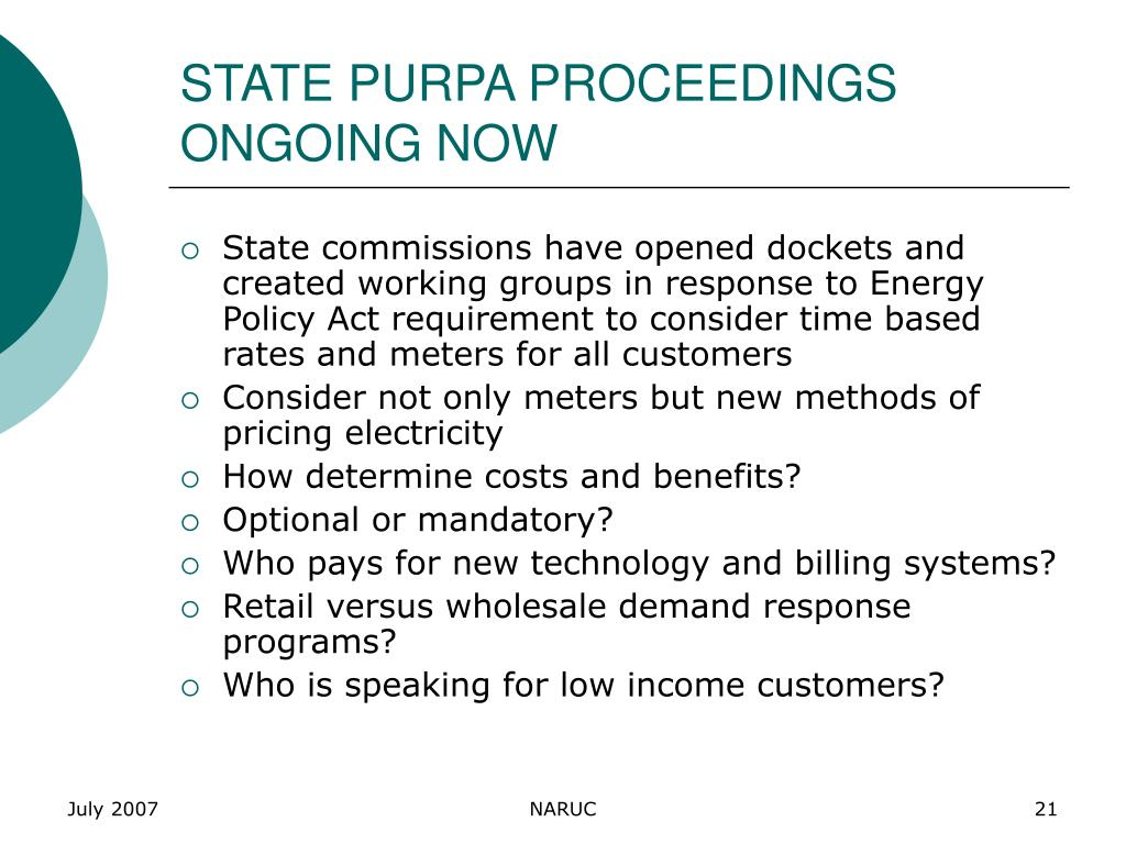 STATE PURPA PROCEEDINGS ONGOING NOW