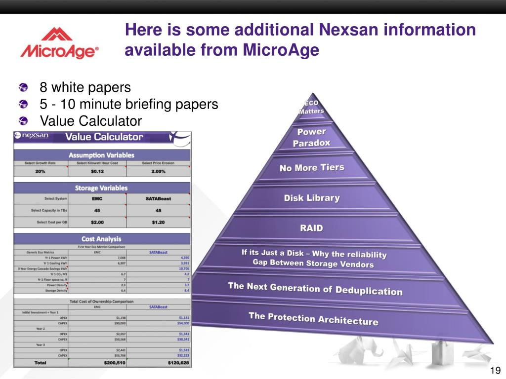 Here is some additional Nexsan information available from MicroAge