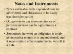 notes and instruments