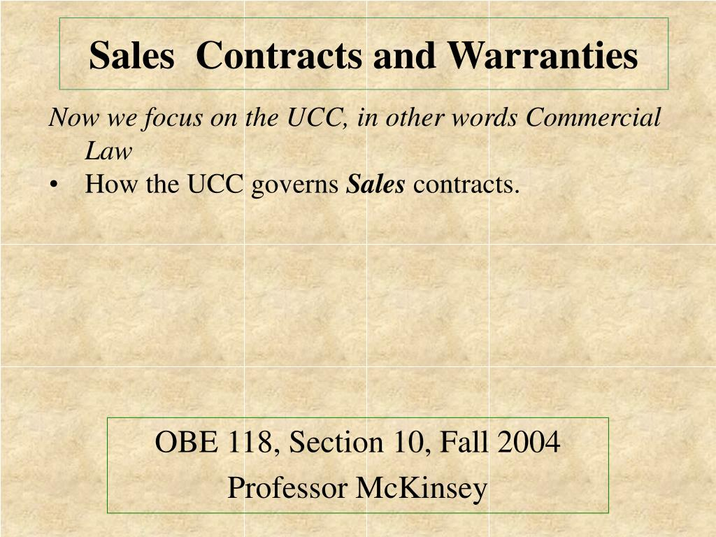 sales contracts and warranties l.