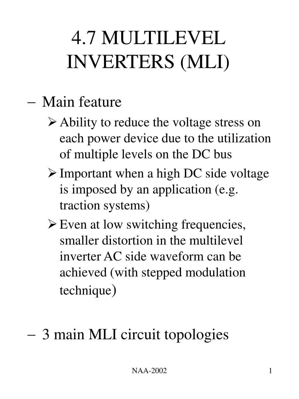 PPT - 4 7 MULTILEVEL INVERTERS (MLI) PowerPoint Presentation - ID:263225