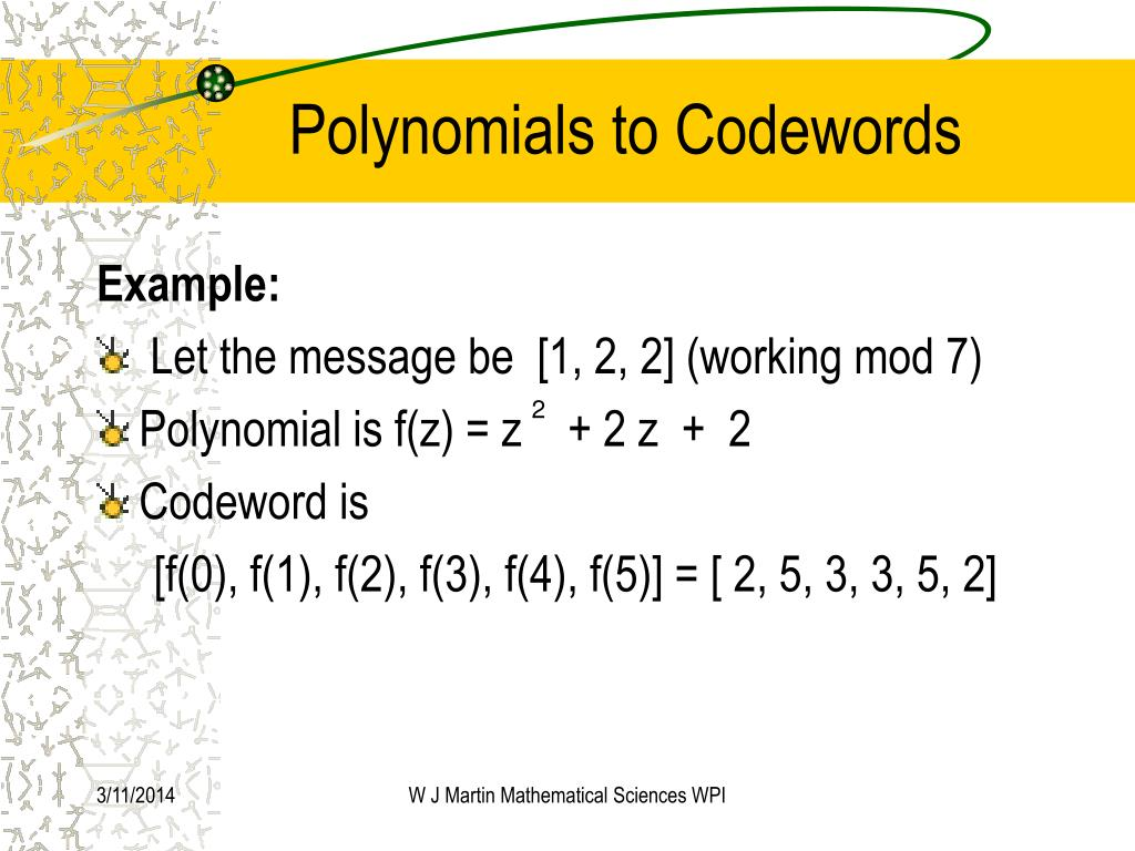 Polynomials to Codewords