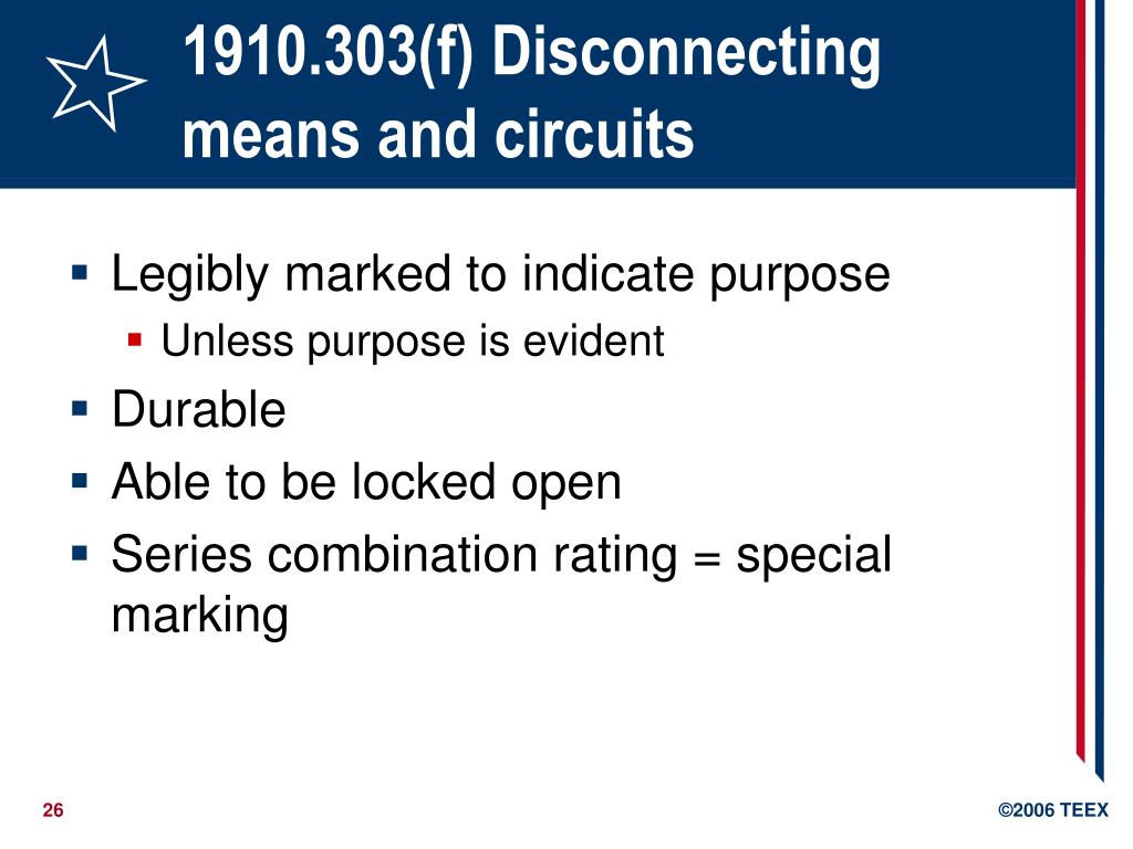 1910.303(f) Disconnecting means and circuits