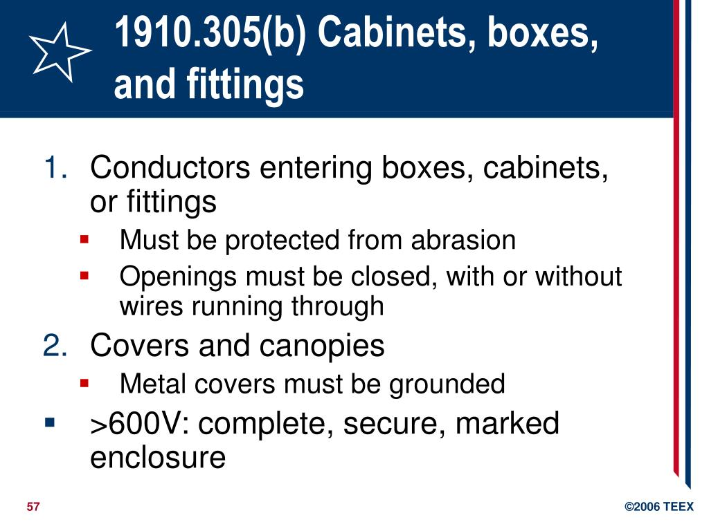 1910.305(b) Cabinets, boxes, and fittings