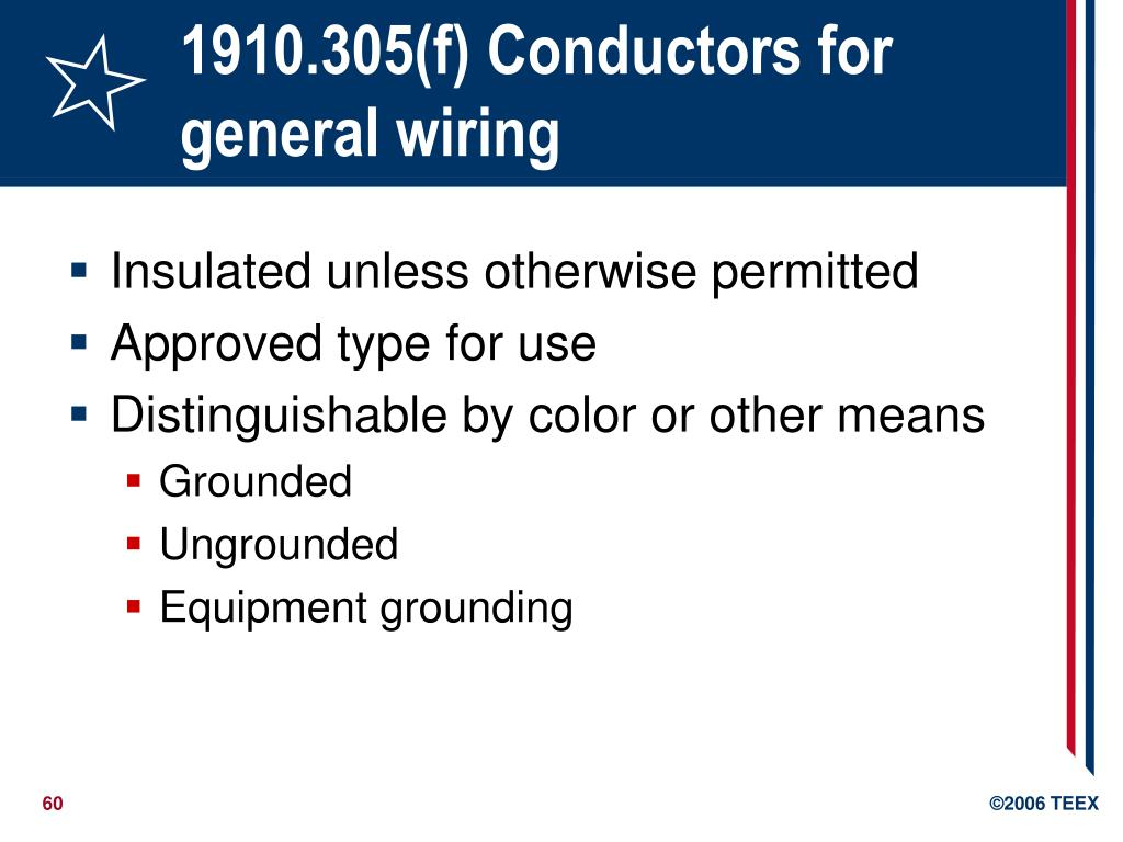 1910.305(f) Conductors for general wiring