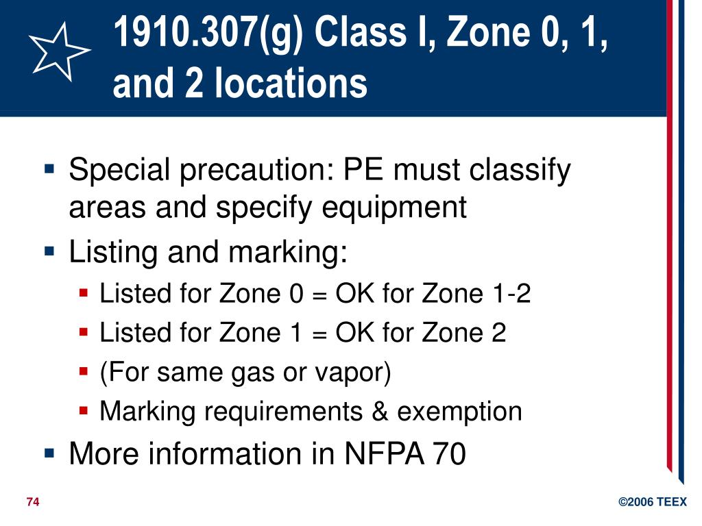 1910.307(g) Class I, Zone 0, 1, and 2 locations