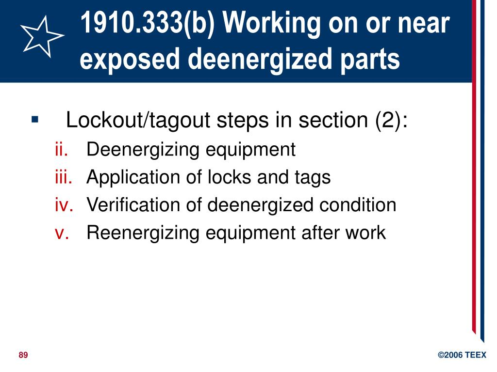 1910.333(b) Working on or near exposed deenergized parts