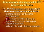 components of a successful ict services cluster