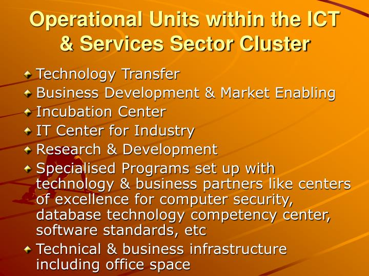 Operational Units within the ICT & Services Sector Cluster