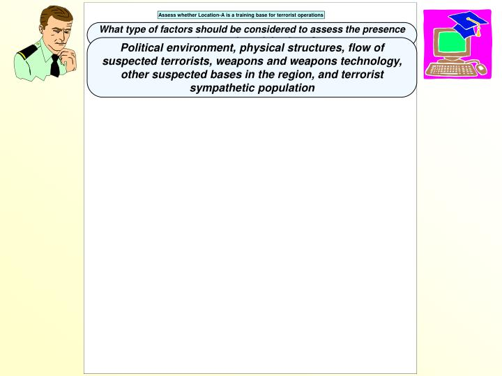 What type of factors should be considered to assess the presence of a terrorist training base?