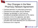 key changes in the new pharmacy network agreement