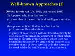 well known approaches 1