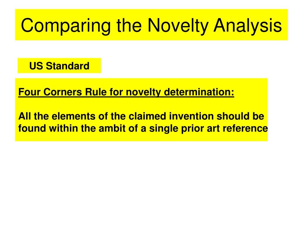 Comparing the Novelty Analysis