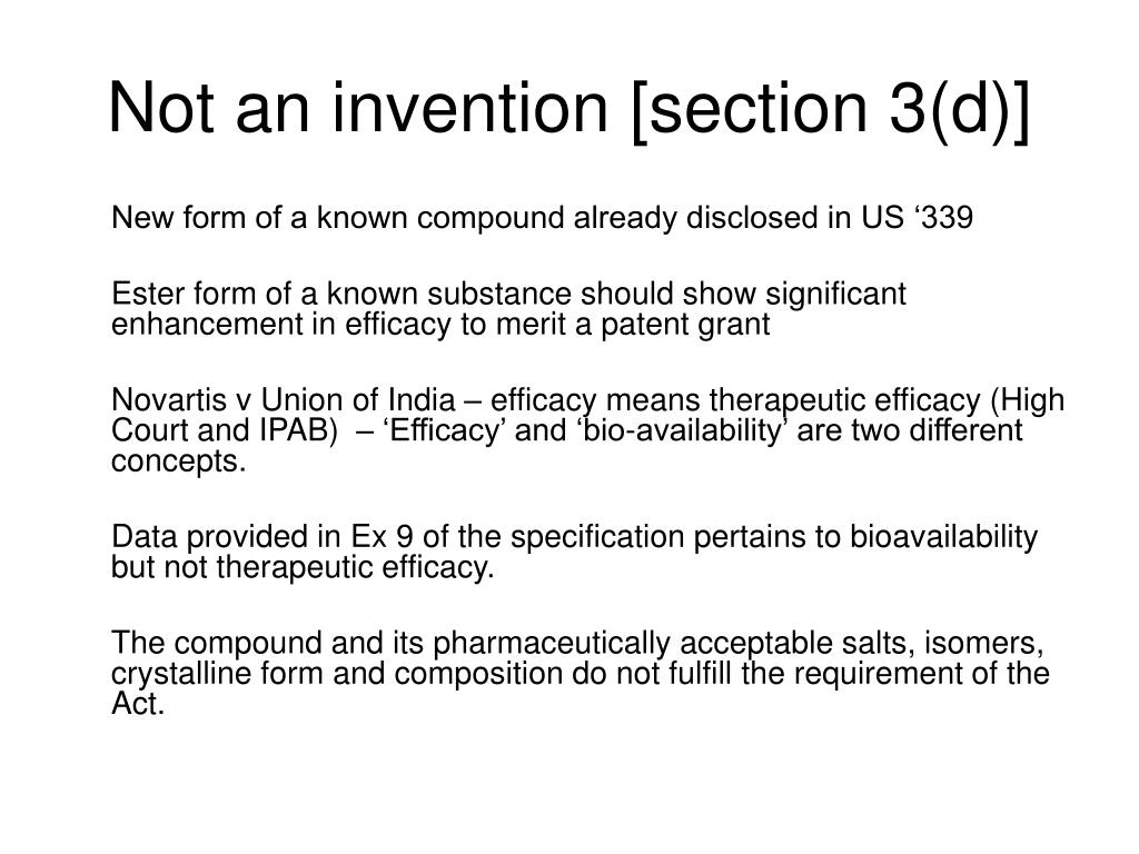 Not an invention [section 3(d)]
