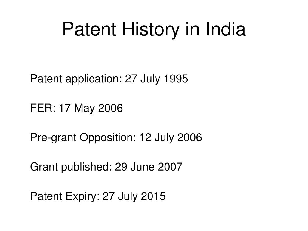 Patent History in India