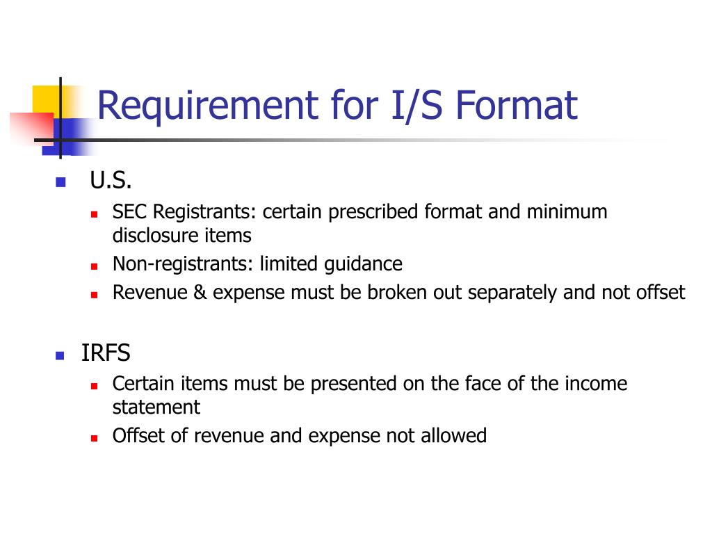 Requirement for I/S Format