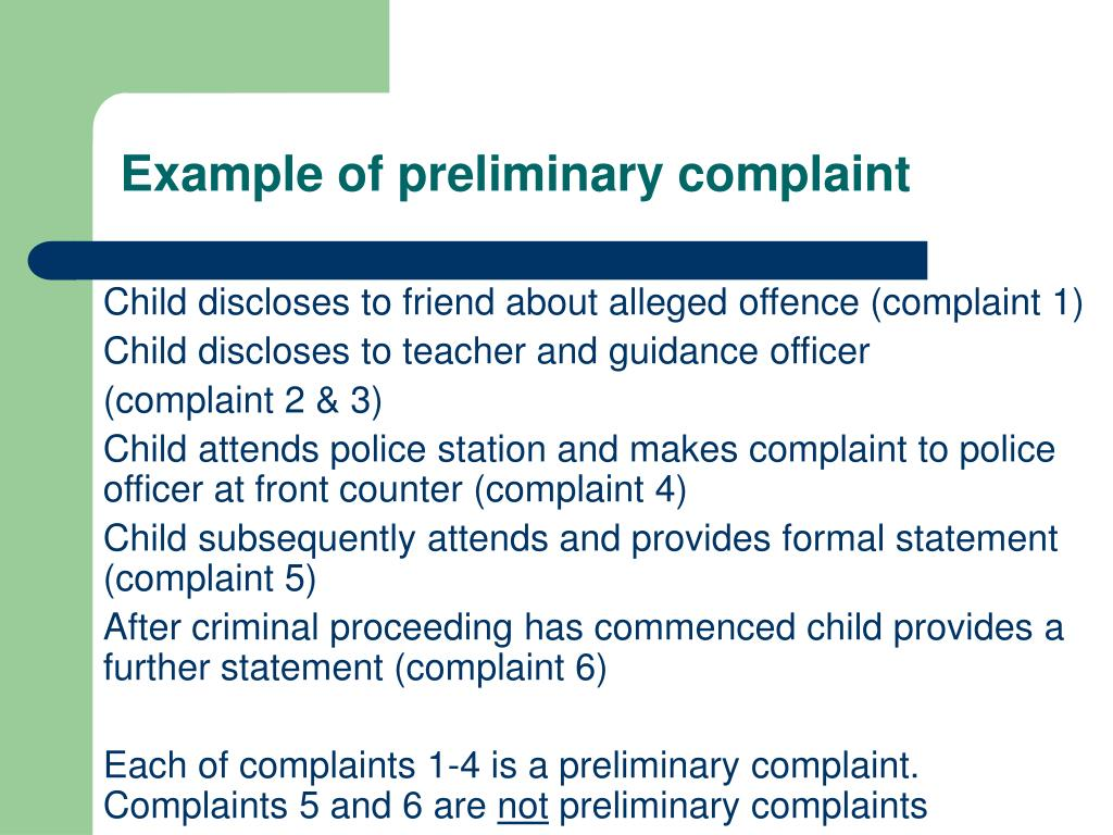 Example of preliminary complaint