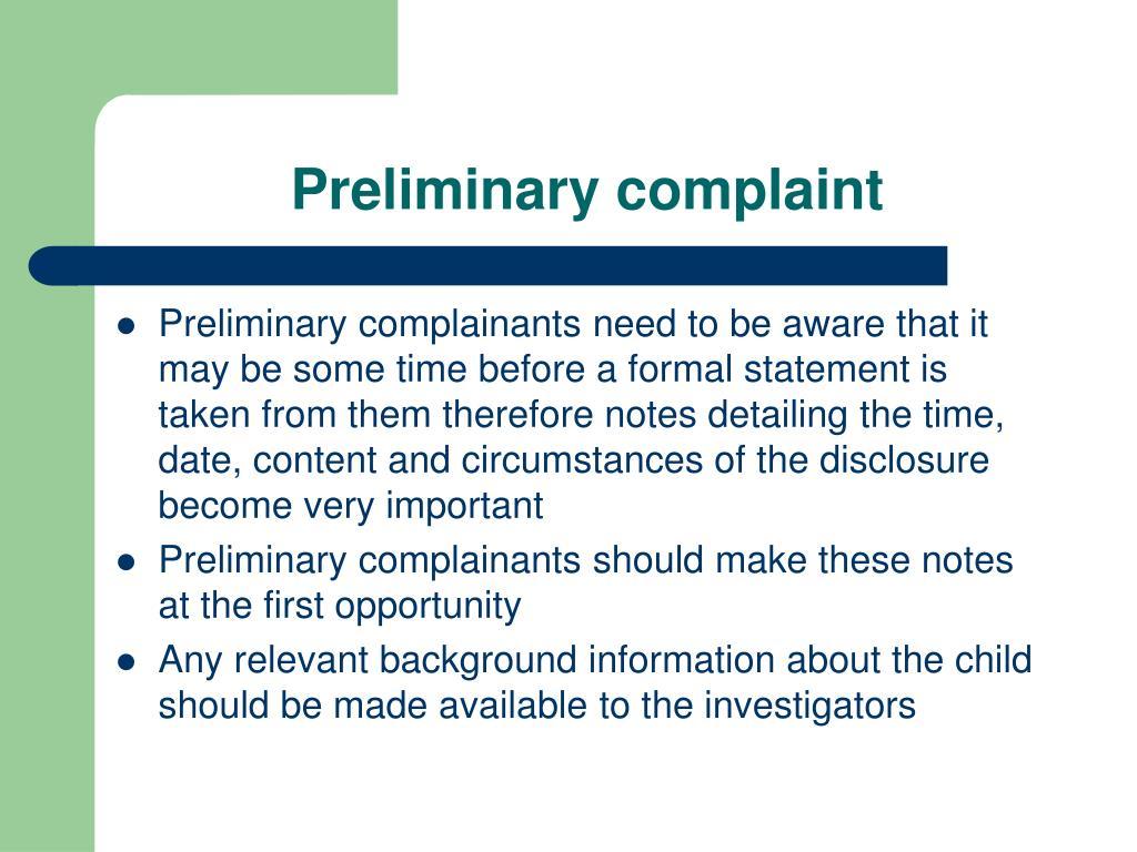 Preliminary complaint