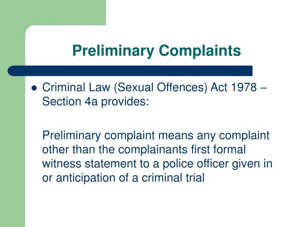Preliminary Complaints