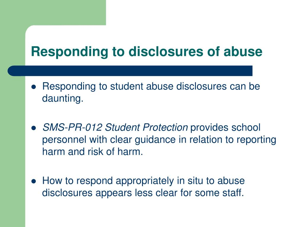 Responding to disclosures of abuse