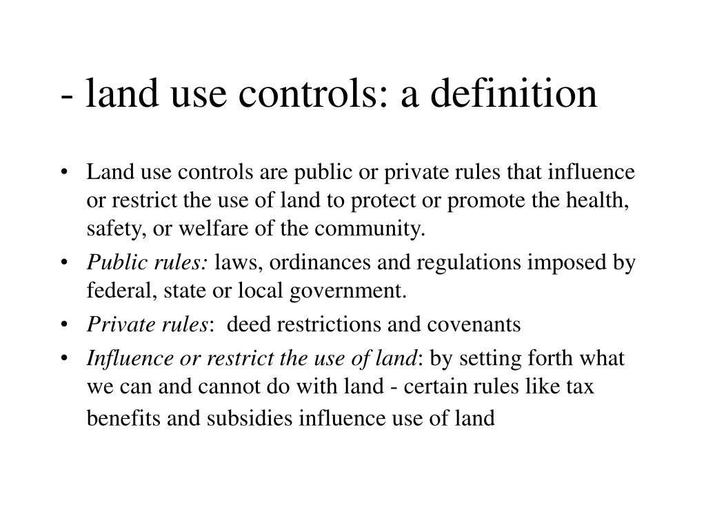 - land use controls: a definition
