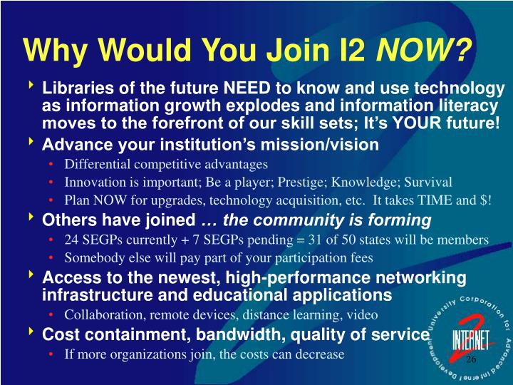 Why Would You Join I2