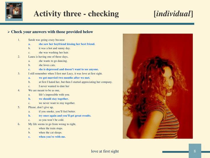 Activity three - checking                 [