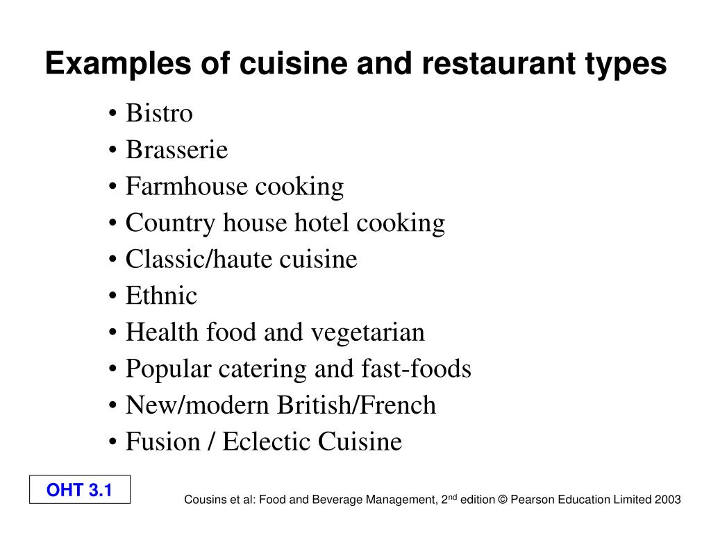 examples of cuisine and restaurant types l.