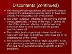 discontents continued