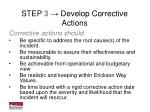 step 3 develop corrective actions