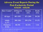 adverse event reports during the post exclusivity period 03 02 05 04 02 06