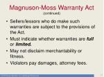 magnuson moss warranty act continued